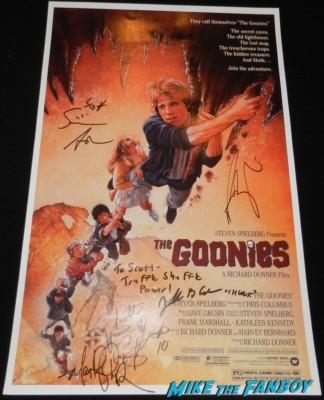 jeff b cohen signed autograph goonies movie poster rare promo signature chunk martha plimpton josh brolin sean astin corey feldman