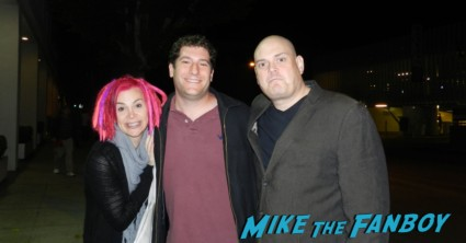 Lana and Andy Wachowski posing for a fan photo with mike the fanboy after signing autographs for fans rare the matrix bound cloud atlas directors