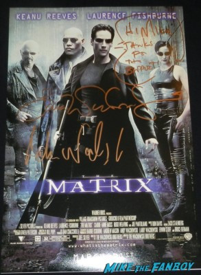 lana and andy wachowski signed autograph the matrix movie poster rare promo signing autographs rare brother and sister directors Lana and Andy Wachowski brothers