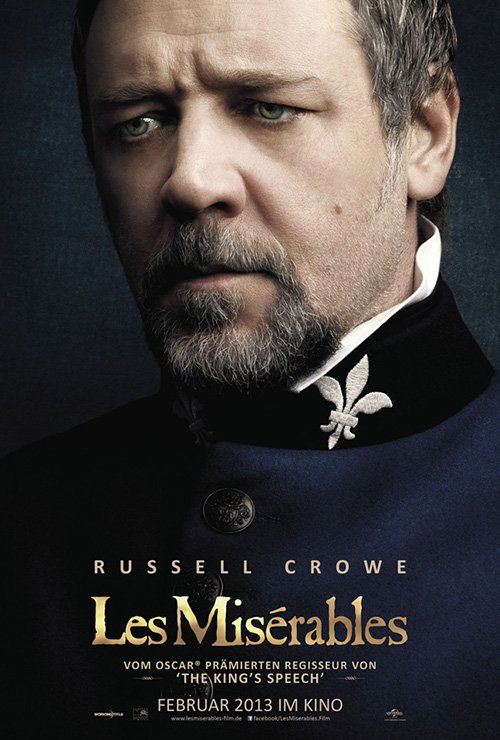 russell crowe les miserables individual promo movie poster teaser hot sexy rare promo movie poster