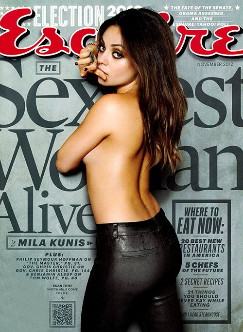 Mila Kunis topless sexiest woman alive magazine cover photo shoot esquire magazine november 2012 cover hot sexy rare promo friends with benefits rare family guy