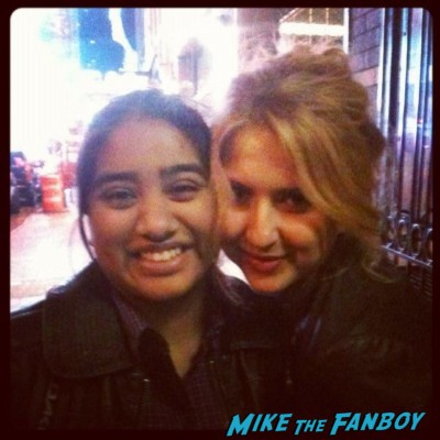 Nina Arianda posing for a fan photo with elisa from the big apple from mike the fanboy in new york rare promo