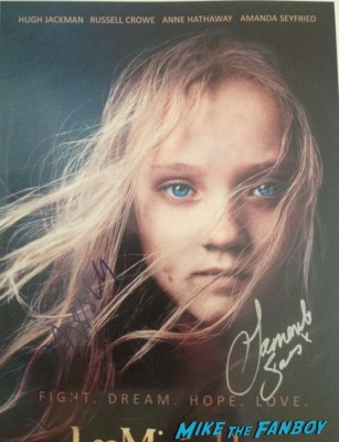 russell crowe and samantha barks signed autograph les miserables movie poster promo hot sexy sad girl