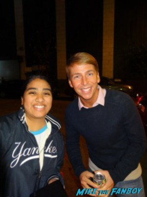 jack mcbrayer signing autographs and posing with elisa from mike the fanboy at the night of too many stars in new york city