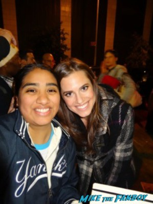 allison williams signed autograph signature rare signing autographs and posing with elisa from mike the fanboy at the night of too many stars in new york city