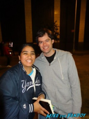 bill hader signed autograph signature rare signing autographs and posing with elisa from mike the fanboy at the night of too many stars in new york city