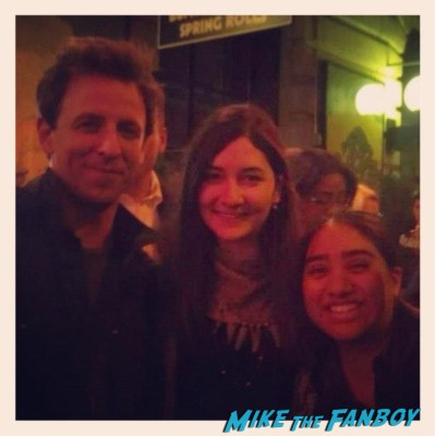 seth myers  from SNL  posing for a fan photo with elisa from the big apple from mike the fanboy in new york rare promo