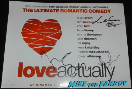 andrew lincoln liam neeson signed autograph promo love actually uk quad mini movie poster promo