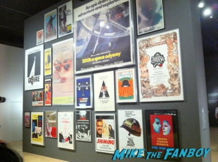 original movie posters on  display photo from the LACMA Stanely Kubrick exhibit prop costumes rare promo script posters