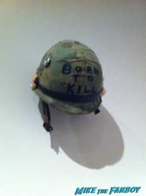 Full Metal jacket helmet at the LACMA Stanely Kubrick exhibit prop costumes rare promo script posters