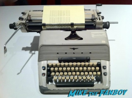 The shining original prop typewriter used by jack nicholson on display photo from the LACMA Stanely Kubrick exhibit prop costumes rare promo script posters