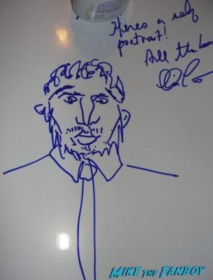chris pratt hand drawn self portrait rare promo autograph signed signature parks and recreation star