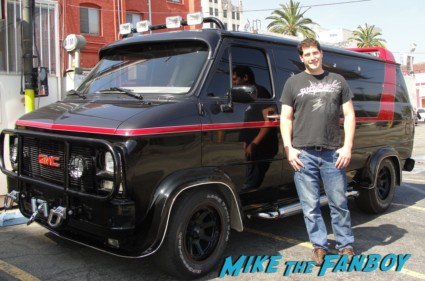 the van from the a team with bradley cooper mike the fanboy posing in front of the prop truck rare promo hot