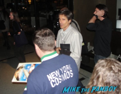 walter salles signing autographs for fans at a screening of on the road at sag with mike the fanboy's billy beer