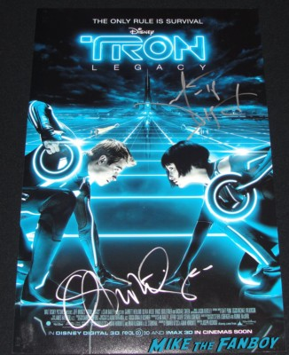 garrett hedlund olivia wilde signed autograph tron legacy rare promo mini poster one sheet hot sexy rare