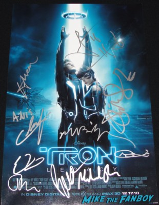 tron legacy signed autograph mini movie poster one sheet garrett hedlund olivia wilde jeff bridges michael sheen