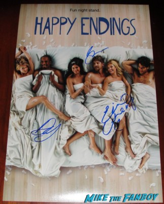 damon wayans jr. elisa cuthbert Zachary Knighton signed happy endings rare promo mini poster rare promo hot autograph rare signing autographs