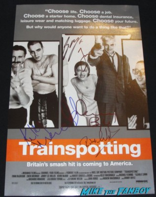 ewan mcgregor signed autograph signature trainspotting mini movie poster one sheet hot jonny lee miller kelly Mcdonald robert carlyle