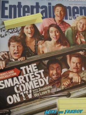 Nick Offerman signed autograph parks and recreation cast signed entertainment weekly magazine cover promo