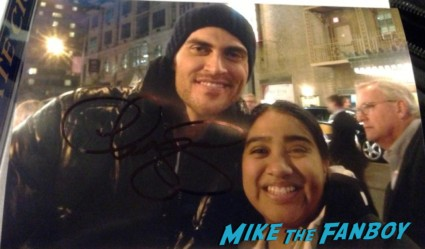 elisa with sexy cheyenne jackson signing autographs for fans after a performance of the performers on broadway in new york city hot rare
