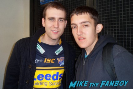 matthew lewis neville longbottom posing for a fan photo with daniel harry potter star rare promo