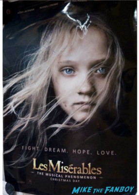les miserables signed autograph signature movie poster one sheet russell crowe samantha barks