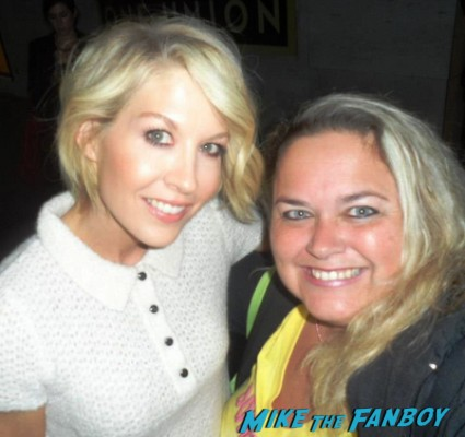 Jenna Elfman fan photo with mike the fanboy's pinky signed autograph rare promo dharma and greg star can't hurry love rare