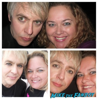 duran duran's nick rhodes posing with pinky from mike the fanboy for a photo signing autographs rare promo hot sexy lead singer