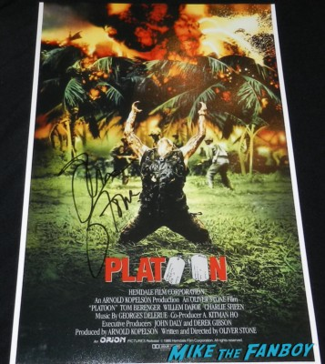 oliver stone signed autograph platoon promo mini movie poster hot war film jfk the doors rare