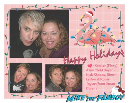 pinky's duran duran christmas card happy holidays duran duran's nick rhodes posing with pinky from mike the fanboy for a photo signing autographs rare promo hot sexy lead singer