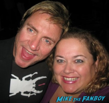 duran duran's simon lebon posing with pinky from mike the fanboy for a photo signing autographs rare promo hot sexy lead singer