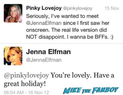 Jenna Elfman's twitter account tweet to the awesome ms. pinky lovejoy dharma and greg star can't hardly wait rare promo