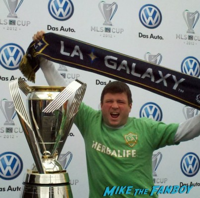 Billy Beer posing with the LA Galaxy cup