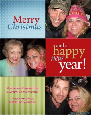 pinky's christmas card with Betty While bradley cooper and patrick dempsey rare promo celebrity card