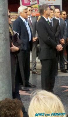 jay leno at hugh jackman's walk of fame star ceremony signing autographs for fans