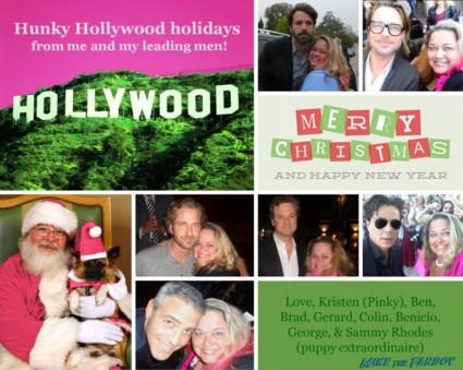 Pinky's hunky christmas card with gerard butler brad pitt ben affleck rare george clooney rare