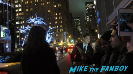 Aaron Tveit signing autographs for fans at the les miserables new york movie premiere signed autograph rare promo