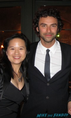 Aiden Turner posing for a fan photo at the hobbit after party in new york city rare promo signed autograph