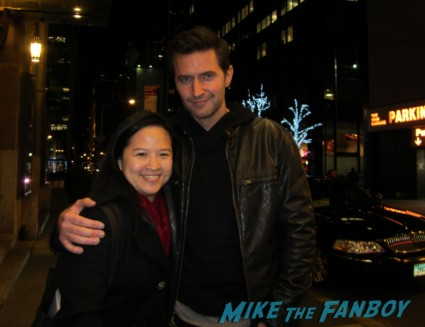 Richard Armitage posing for a fan photo with Erica from mike the fanboy signing autographs for fans hot sexy photo shoot rare promo