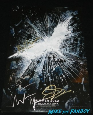 Christian bale hans zimmer Gary oldman signed autograph signature rare promo dark knight rises mini poster Christian bale signing autographs for fans rare dark knight rise 012 signing autographs for fans rare dark knight rise 010