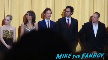 The cast of les miserables at the new york movie premiere hugh jackman sasha barren cohen anne hathaway