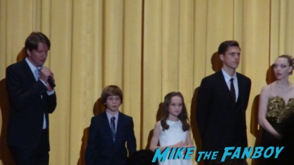 The cast of les miserables at the new york movie premiere hugh jackman sasha barren cohen anne hathaway