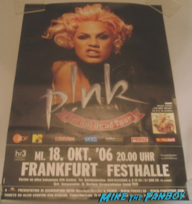 pink signed autograph german tour poster rare promo Pink or P!nk alicia moore signing autographs for fans the truth about love blow me one last kiss how sexy photo shoot rare promo