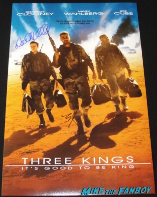 david o russell signed autograph three kings promo mini movie poster mark wahlberg signature