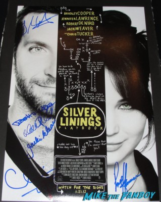 silver linings playbook signed autograph mini movie poster Bradley Cooper, Jacki Weaver, Chris Tucker, Shea Whigham, Pauly Herman, Dash Mihok and David O. Russell