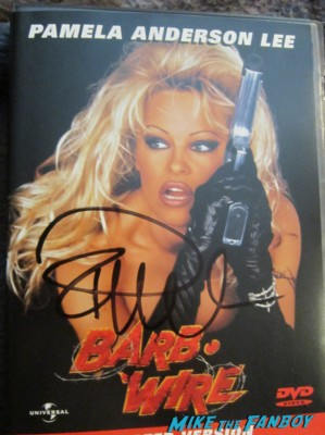 Pamela anderson signed autograph signature barb wire dvd cover hot sexy baywatch star promo black leather blonde hair sex