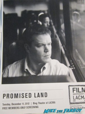 Matt Damon promised land screening and q and a at LACMA rare promo signed autograph promo photo bourne legacy