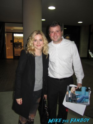 Gillian Jacobs posing with billy beer signing autographs for fans rare promo hot sexy community star