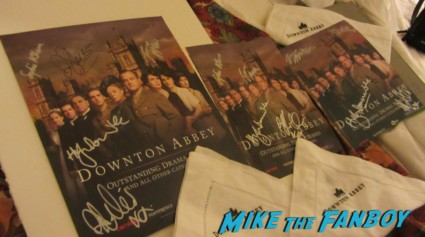 Downton Abbey Cast signed photo with Rob James-Collier Joanne Froggett (Anna) and Sophie McShera (Daisy) signing autographs for fans rare promo