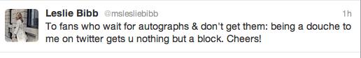 nasty leslie bibb rude twitter rant about waiting fans rare promo leslie bibb nasty to fans gcb